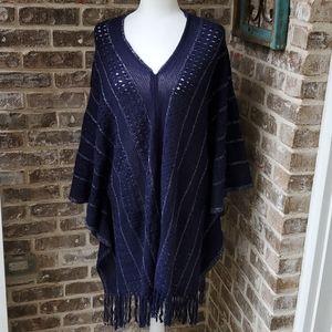 BCBGMAXAZRIA Blue Open Knit One Size Fringe Poncho